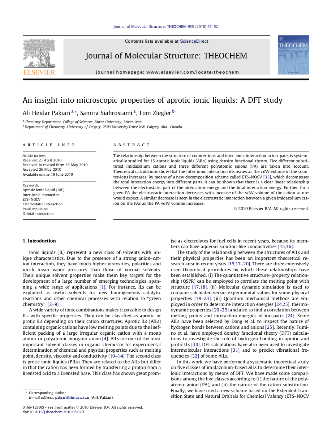 An Insight into Microscopic Properties of Aprotic Ionic Liquids: A DFT Study