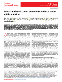 Mechanochemistry for ammonia synthesis under mild conditions