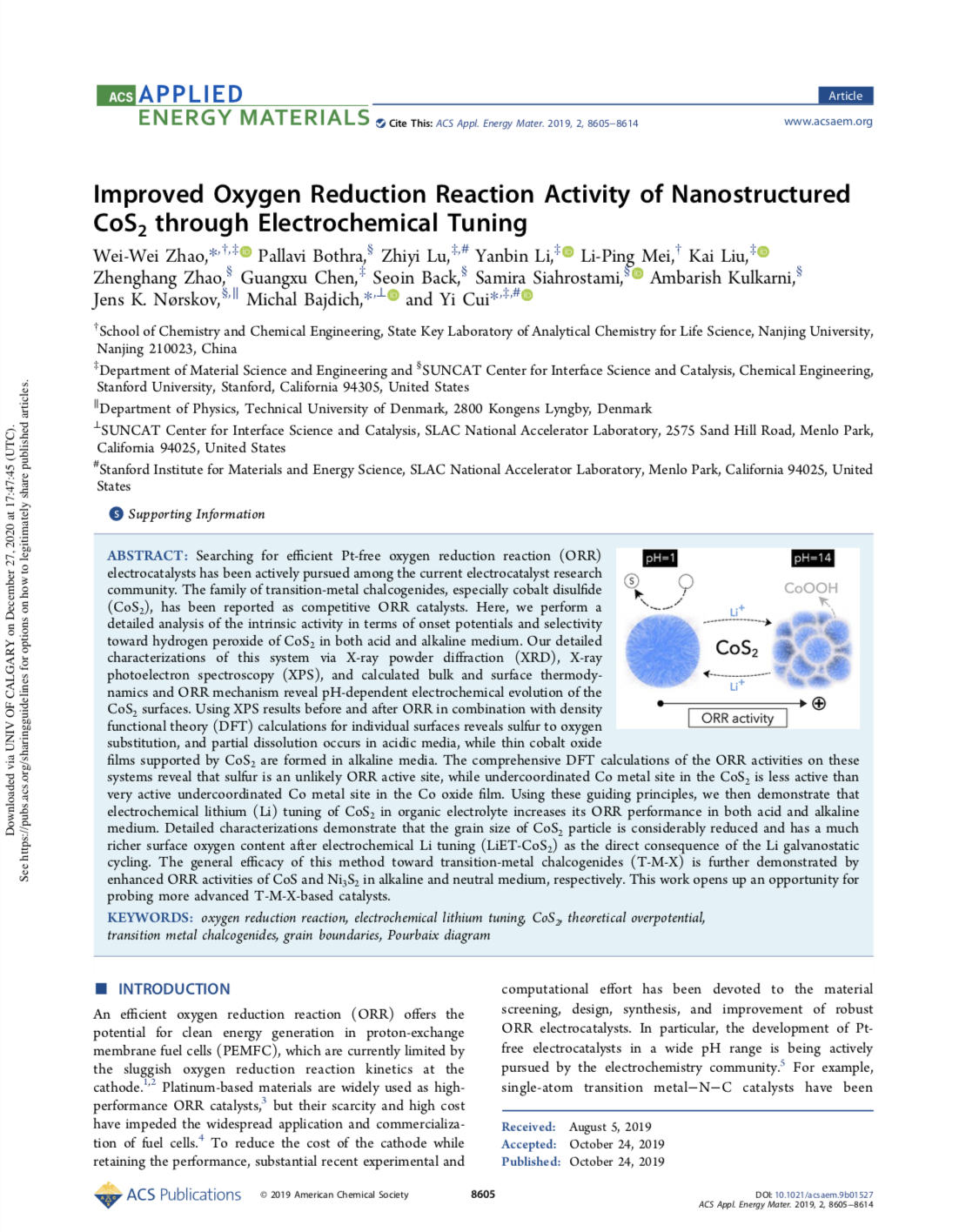 Improved Oxygen Reduction Reaction Activity of Nanostructured CoS2 through Electrochemical Tuning