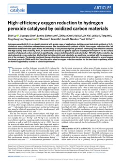 High-efficiency oxygen reduction to hydrogen peroxide catalysed by oxidized carbon materials