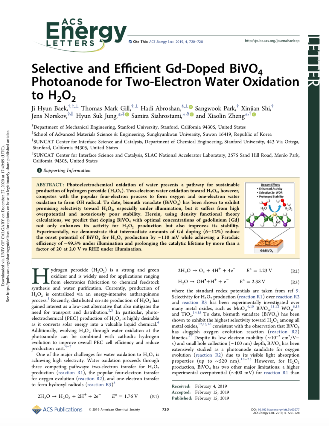Selective and Efficient Gd-Doped BiVO4 Photoanode for Two-Electron Water Oxidation to H2O2