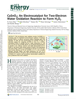 CaSnO3: An Electrocatalyst for Two-Electron Water Oxidation Reaction to Form H2O2