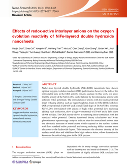 Effects of redox-active interlayer anions on the oxygen evolution reactivity of NiFe-layered double