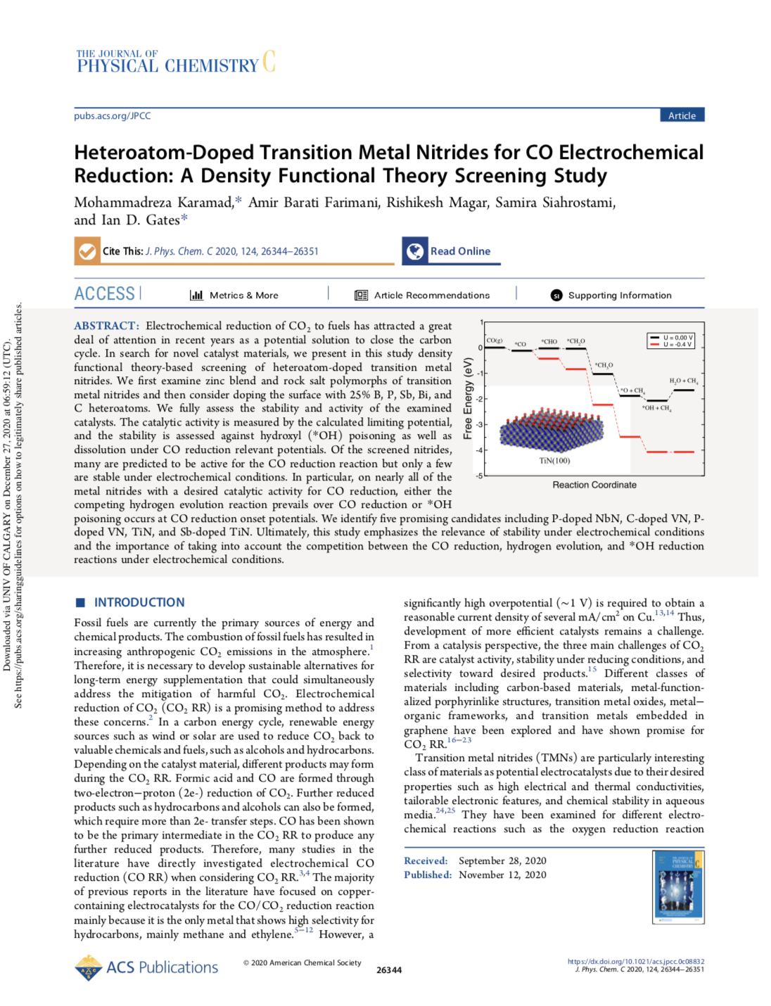 Heteroatom-Doped Transition Metal Nitrides for CO Electrochemical Reduction: A Density Functional Th