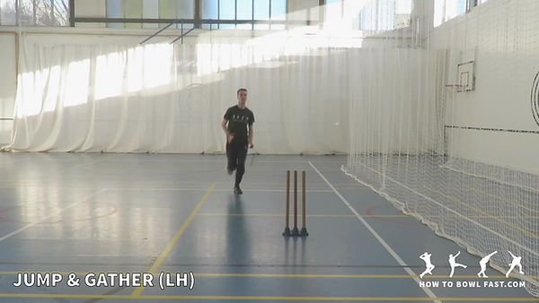 Left Handed Bowler Jump and Gather
