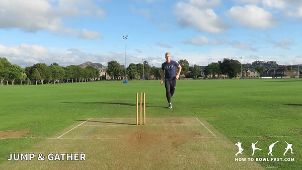 Right Handed Bowler Jump and Gather