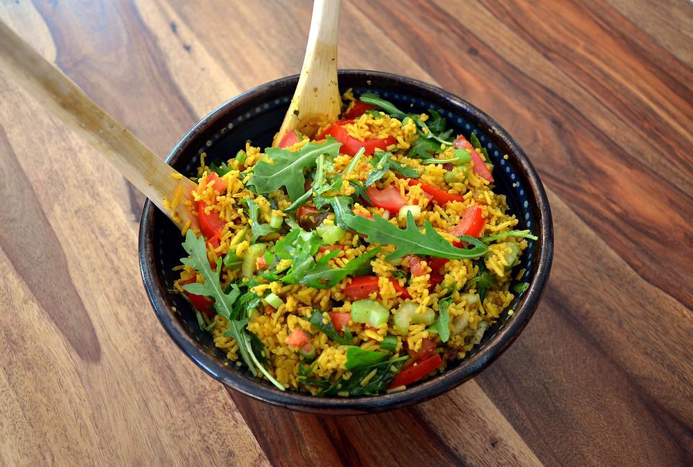 salade été riz curcuma gingembre