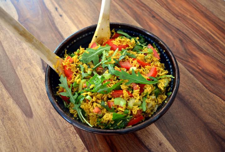 Salade estivale de riz curcuma/gingembre