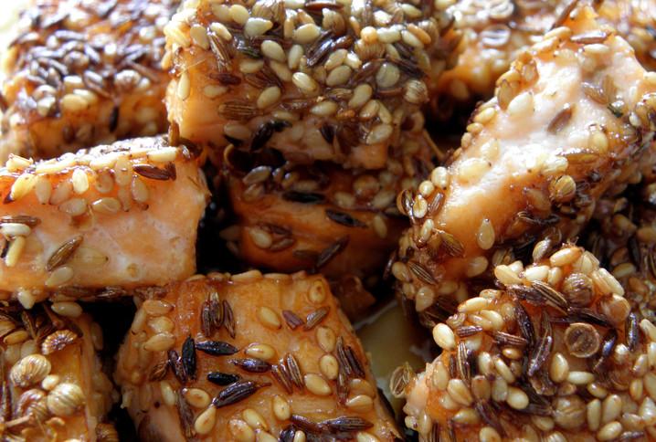 Au menu : saumon en croûte d'épices