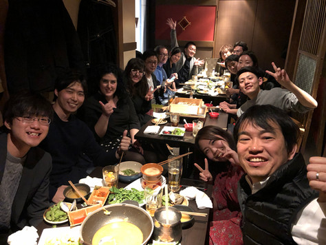 Welcome dinner! With the Japanese Samurai members during our visit to Japan on April 2019