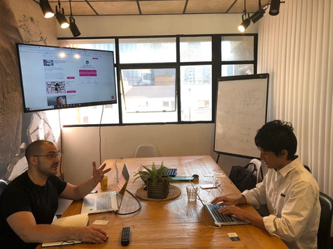 Our Portfolio compnay Scaleabout during a pitch meeting with Colopl Next
