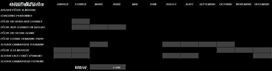 Calendrier disponibilité prestations 2019