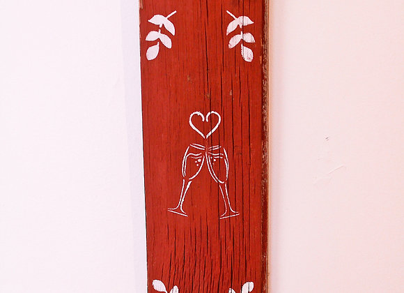 Champagne Flute Wooden Sign
