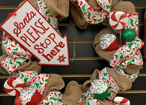 Santa Please Stop Here Wreath