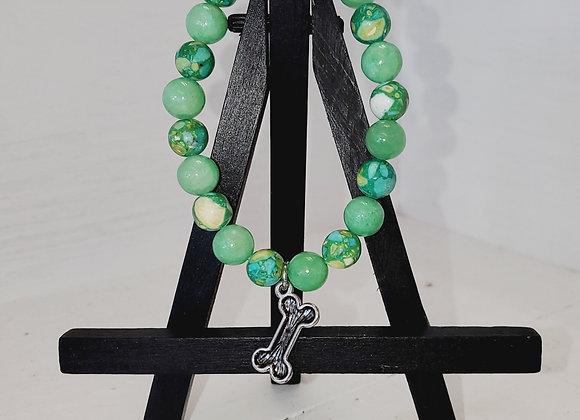 Green Dog Bone Bracelet