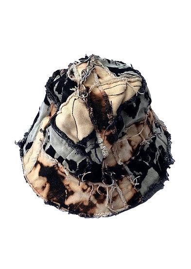 Black Bleached Heavy Patchwork Denim Bucket