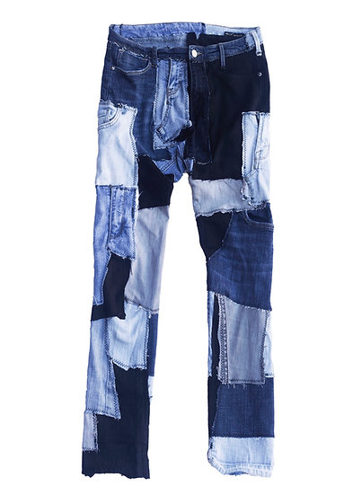 Multicolored Patchwork Denim Jeans