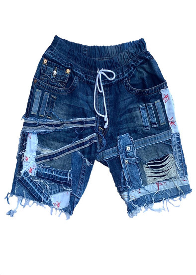 True Religion Patchwork Denim Shorts