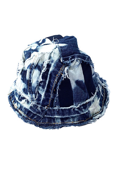 Bleached Shuttle Strap Patchwork Denim Bucket