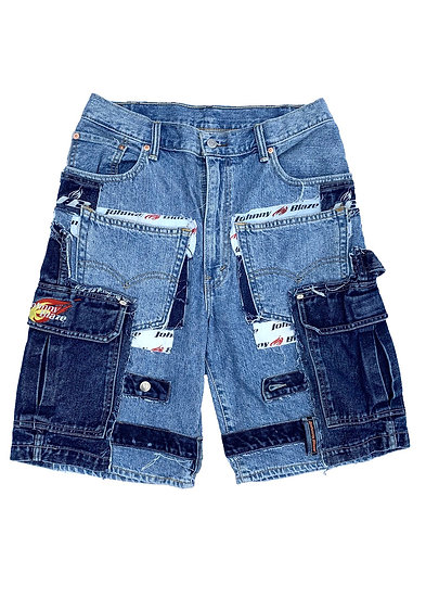 Johnny Blaze Patchwork Denim Shorts
