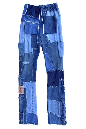 Patchwork Denim Slouch Pants