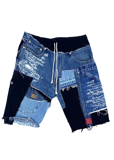 Multicolored Patchwork Denim Shorts