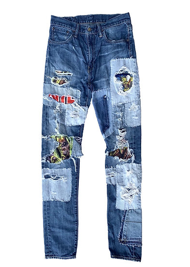 Iron Maiden Handstiched Patchwork Denim