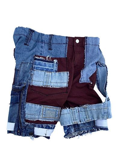 Burgundy x Lightwash Patchwork Denim Shorts