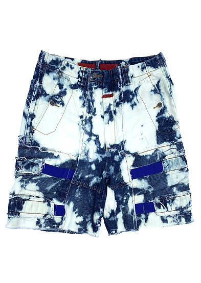 Bleached Blue Shuttle Patchwork Shorts
