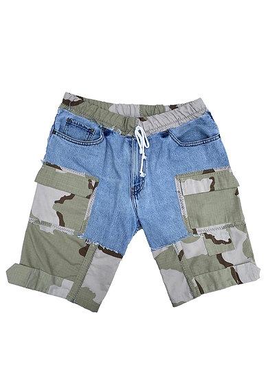 Camo x Denim Patchwork Shorts