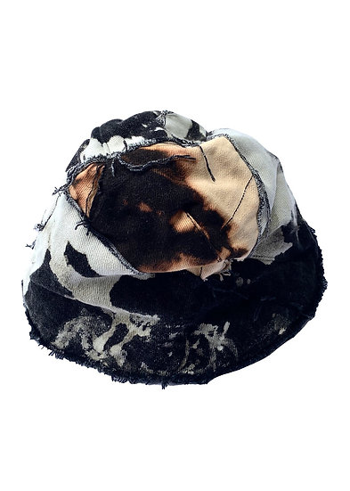 Black Bleached Patchwork Denim Bucket