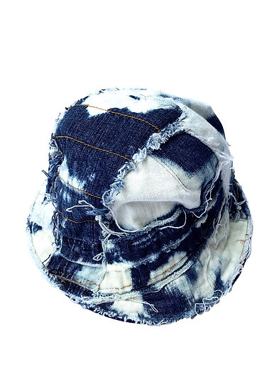 Bleached Denim Patchwork Bucket