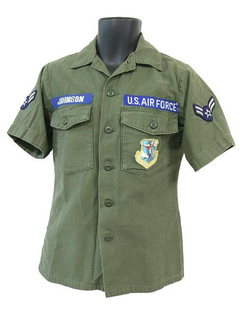 アメリカ軍 コットンサテン ユーティリティーシャツ OG 72年 S