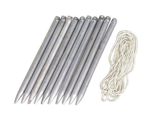 ドイツ軍 アルミ テントペグ 10本 + ロープセット
