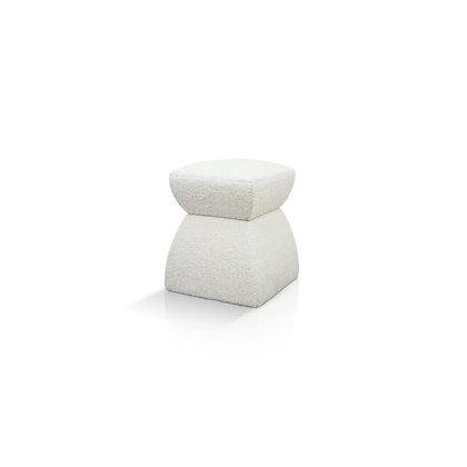 Cusi Pouf in White Mohair