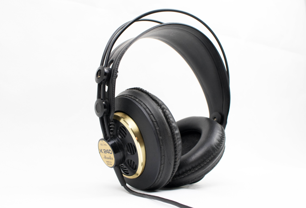 headset with big ear cuffs.