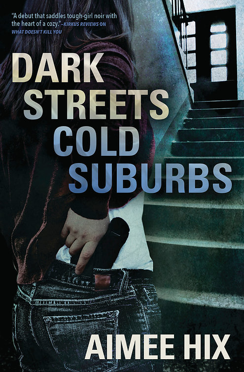 The cover of DARK STREETS COLD SUBURBS a Willa Pennington PI series novel shows the back of a woman pulling a gun while looking up a dimly lit staircase.
