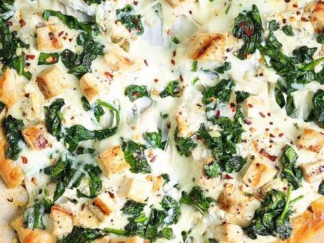 Roasted Garlic, Chicken, Spinach White Pizza