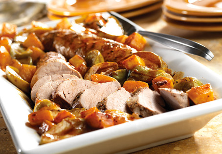 Glazed Pork Tenderloin with Roasted Apples