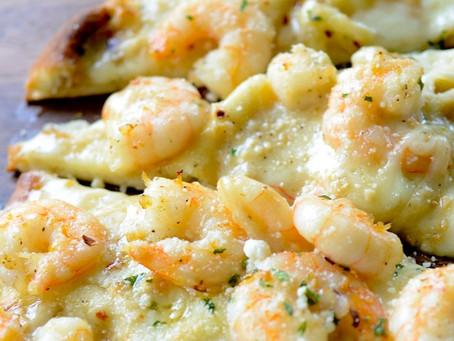 Shrimp Scampi Naan Pizza