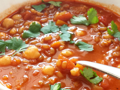 Spelt Chickpea Tomato Stew