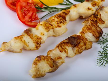 Grilled fish skewers with Hawayej
