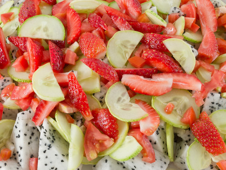 Strawberry Cucumber Dragon Fruit Summer Salad