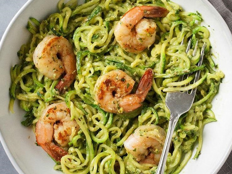 Spicy Shrimp on a bed of Pesto Zucchini