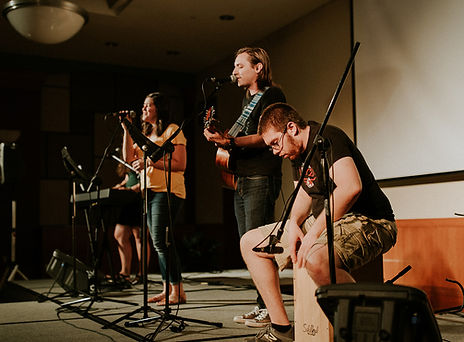 revolution worship team leading during a sunday service