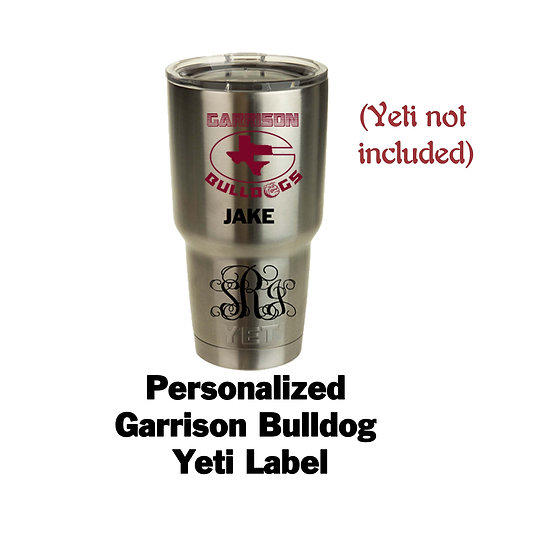 Yeti label with monogram or name