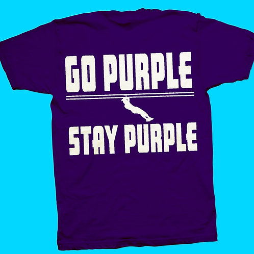 Zip Nac T-Shirt Stacked with Go Purple  in White