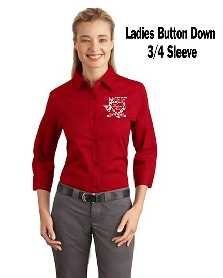 Ladies Button Down 3/4 sleeve
