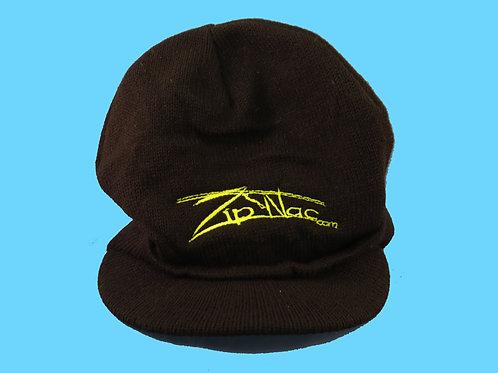Zip Nac Knit Hat with Bill in Black