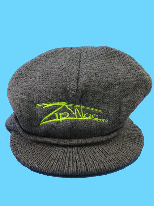 Zip Nac Knit Hat with Bill in Grey
